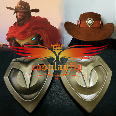 Overwatch Jesse Mccree Cowboy Cosplay Hat Prop Hat + Copper Badges Collection