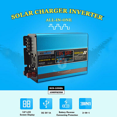 1000W 20A all-in-one Solar Charger Inverter 3-IN-1 12V DC to 220V AC LED display