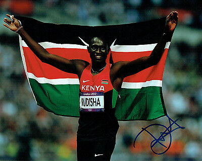 David Lekuta RUDISHA Autograph Signed 10x8 Photo AFTAL COA Kenya Athlete Runner