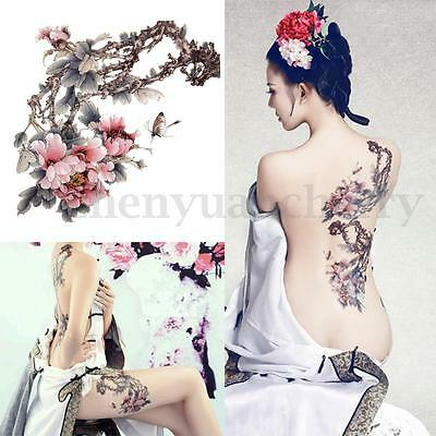 New Large Removable Stickers Body Art Temporary Tattoos Waterproof Flower Tree