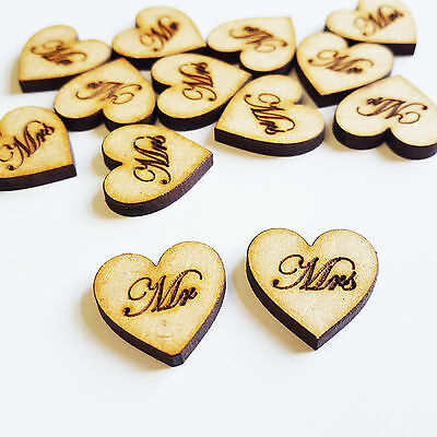 Mr & Mrs 20mm Love Hearts MDF Wooden Wedding Decor Gifts Embellishments