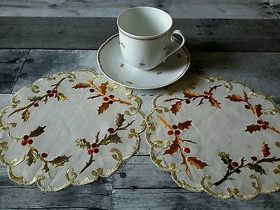 """Pair Antique Society Silk Hand Embroidered Linen Doilys Holly 8"""" Christmas"""