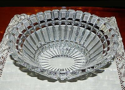 """Contemporary Heavy Cut Glass 11"""" Basket Shaped Lead Crystal Bowl"""