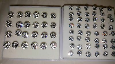 Joblot 36 pairs 5 mm & 7.5 mm Hypoallergenic Diamante stud Earrings - Wholesale