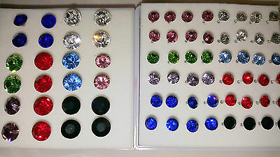 Joblot 36 pairs 5mm&7.5mm Hypoallergenic Diamante stud Earrings- NEW Wholesale A