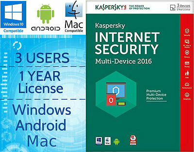 Kaspersky Internet Security 3 User 1 Year 2016 Multi-Device Download Licence Key