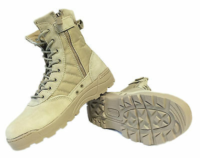 Mens Lace Up Sand Combat Desert Boots High Top Military Walking Hiking UK SIZE 8