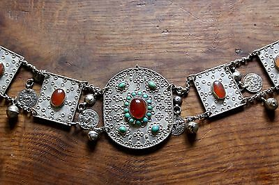 Rare antique Turkmenistan Ottoman solid silver belt buckle coins Arabic panels