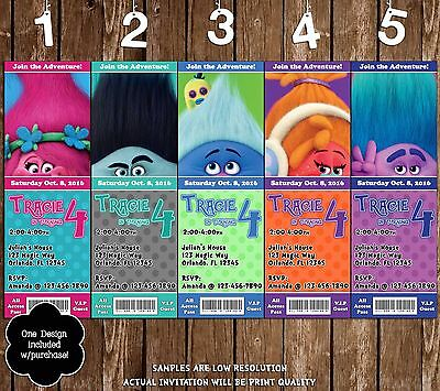 Trolls Movie - Ticket Birthday Invitations - 20 Printed W/envelopes