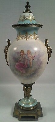 Antique Sèvres 19Th Century Bronze Mounted Pictorial Painted Porcelain Urn