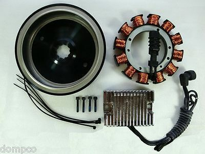 32 AMP Hvy Dty Alternator Charging System Kit Ch Reg for Harley Big Twins '70-99