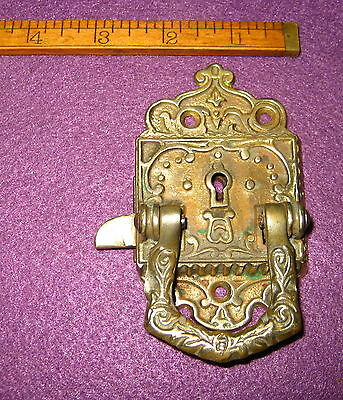 Old Antique Vintage Ornate Cast Brass Key Door Cabinet Lock Usa Pat June 29 1897