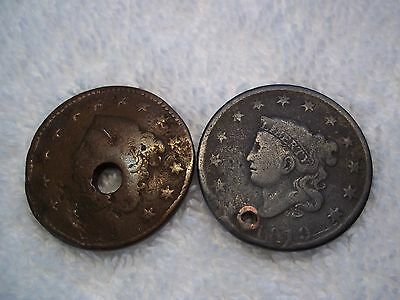 1819 Large cents U.S. (lot of 2) well circulated  HOLED #L7.9.5