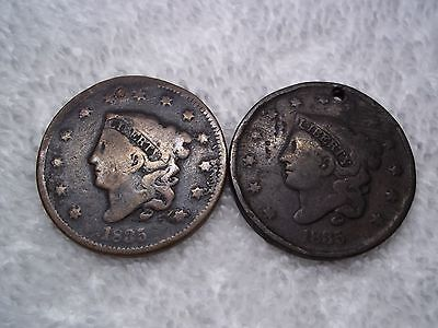 1835 Large cents U.S. (lot of 2) well circulated  HOLED #L21.8.5