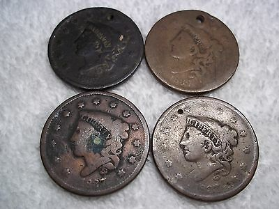 1837 Large cents U.S. (lot of 4) well circulated  HOLED #L24.17.12