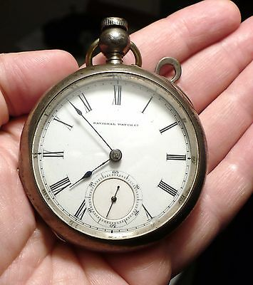 Antique 1871 Coin Silver Elgin Pocket Watch 18 Size 7 Jewels Key Wind Working