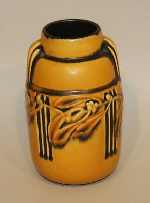 1930s Roseville Art Deco Pottery Laurel Yellow / Gold Vase with Black Ribs 668-6