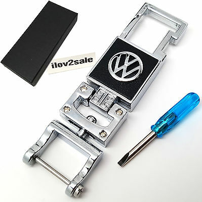 VW Volkswagen chrome alloy key ring keyring fob with gift box