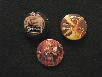 "Three Whitesnake Vintage Badges  1"" Buttons Pin  Uk Import"