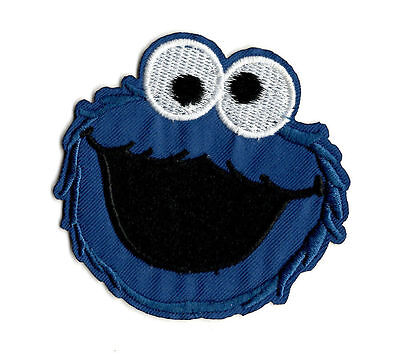COOKIE MONSTER IRON ON / SEW ON PATCH Embroidered Badge Motif Cartoon TV PT24