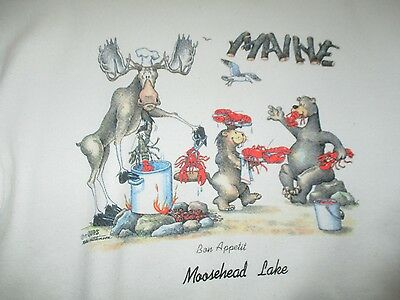 "Vintage 1990 Moose Lake MAINE ""Bon Appetit"" Searving LOBSTERS (XL) Sweatshirt"