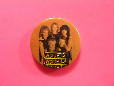 """Vintage Accept 1 1/4"""" Badge Button Pin Uk Made"""