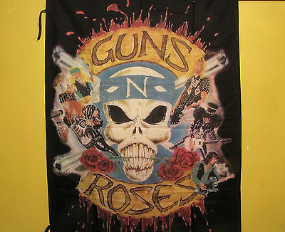 "Large Guns N' Roses Vintage Textile Flag Wall Banner Uk Import   ""logo"""