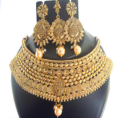 Indian Jewelry Necklace Fashion Bollywood Bridal Ethnic Gold Traditional Set