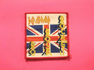 """Small Woven Def Leppard Vintage Patch  Sew On  Uk Import  """"rocket"""""""