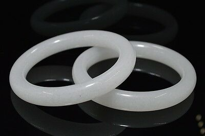 61mm beautiful bangle  Natural Chinese white jade hand-carved bracelet 1pc