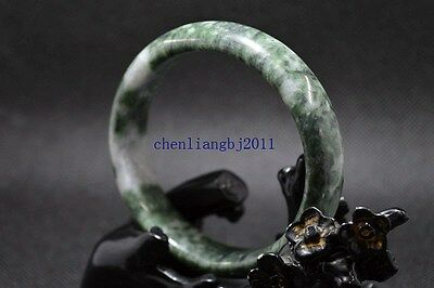60 mm beautiful bangle  Natural Chinese Dark green jade hand-carved bracelet