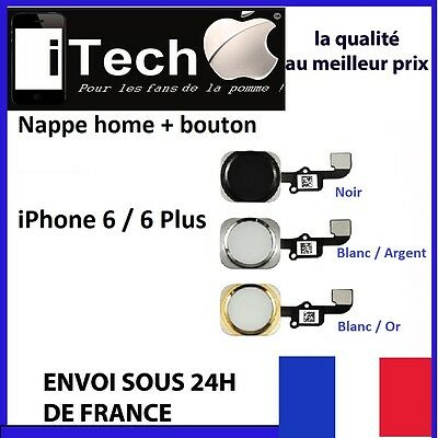 Bouton Home  + Nappe Complet Iphone 6 / 6 Plus Noir Blanc Argent Or