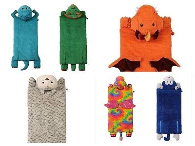"Kids Animal Adventure Sleeping Bag 56"" X 27"" Owl,Penguin, Pink Unicorn, Dinosaur"