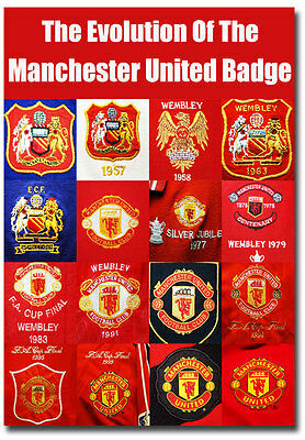 "The Evolution Of The Manchester United Badges Fridge Magnet Size 2.5""x 3.5"""