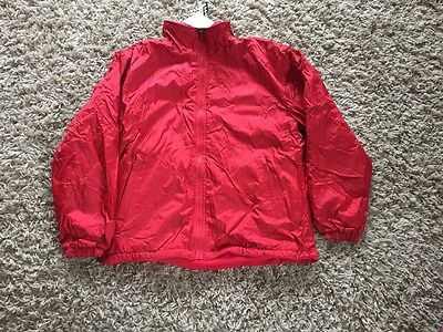Tundra Unisex Reversible School Jacket. Red With Red Fleece Lining. Size 34 BNWT