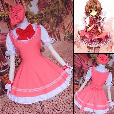 Anime Card Captor Sakura Sakura Kinomoto Sakura Cosplay Costume maid dress Cap