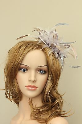 Silver & Taupe Nude  Fascinator Hat/choose any satin/highlight feather colour