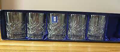 Royal Doulton St Andrews Crystal Whiskey Tumblers X5 Unused Rare