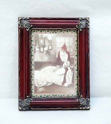Creepy Cute Vintage Santa Claus Framed Christmas Card Print Period Photograph