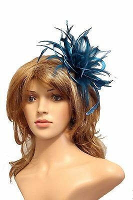 Teal Blue  Fascinator Hat/Choose any satin/highlight feather colour