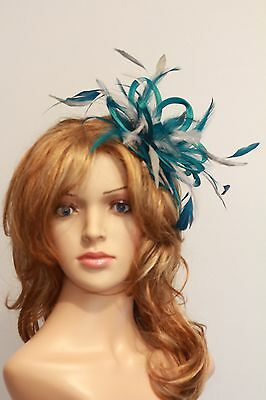 Teal Blue & Silver  Fascinator Hat/Choose any satin/highlight feather colour