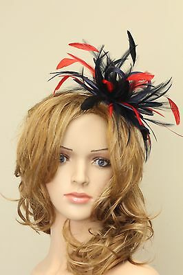 Navy Blue & Red Fascinator Hat/ any satin/highlight feather colour