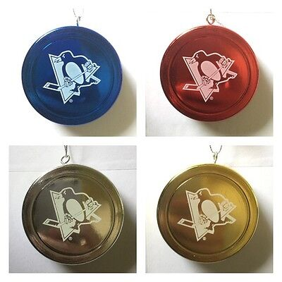 Pittsburgh Penguins NHL Logo Christmas Tree Shiny Puck Decoration