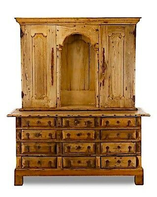 Antique Spanish Baroque 2-Part Pine Cupboard Cabinet | 18th Century