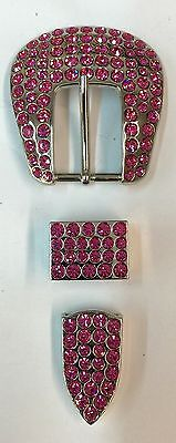 "Full Crystal 3 Pcs Set Western Buckle 1"" Wide With Pink Crystals"