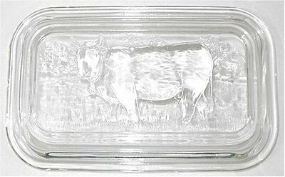 New Cute Clear Cow Glass Butter Dish Double Stick Large Size Durable Dairy Tray