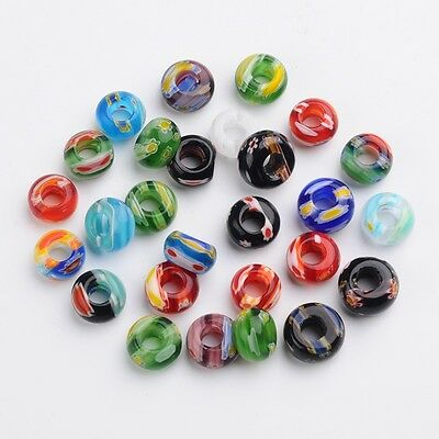 100pcs Rondelle Handmade Millefiori Glass Beads Mixed Color 12~15x7~9mm Crafting