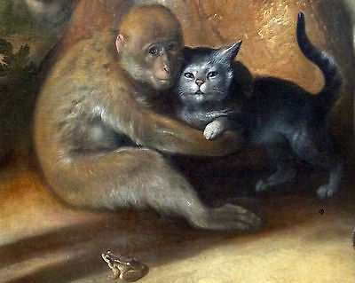 Monkey Holding Cat w/ Frog Pet Painting Animal Love 8x10 Real Canvas Art Print