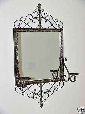 FRENCH STYLE WROUGHT IRON MIRROR with CANDLE HOLDER NEW