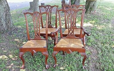 Chippendale Mahogany Ball & Claw Foot Rush seats Sesquientennial Chairs x4 1926